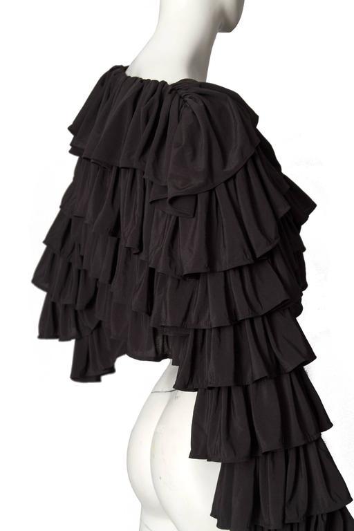 80s Black Norma Kamali Bolero Ruffle Jacket  4