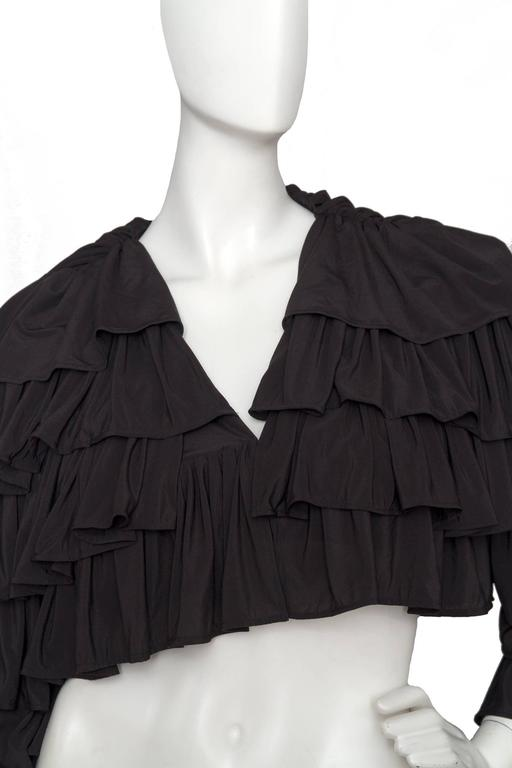 80s Black Norma Kamali Bolero Ruffle Jacket  7