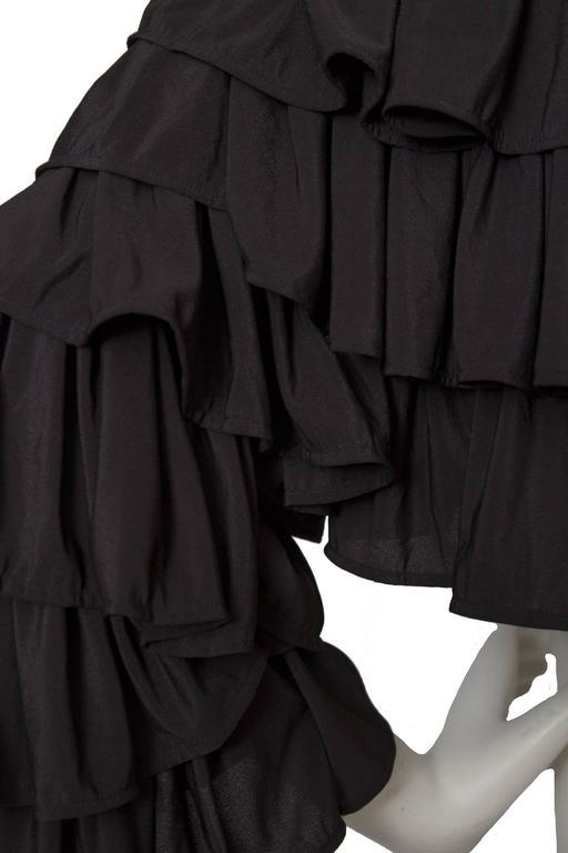 80s Black Norma Kamali Bolero Ruffle Jacket  8