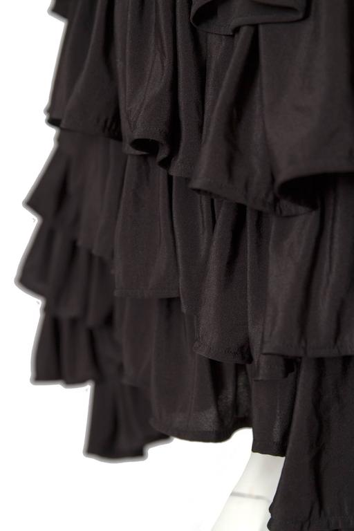 80s Black Norma Kamali Bolero Ruffle Jacket  9