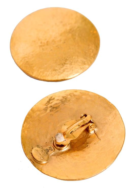 A pair of 1980s Large Jean Louis Sherrer Gold Toned Clip-On Earrings For Sale 2