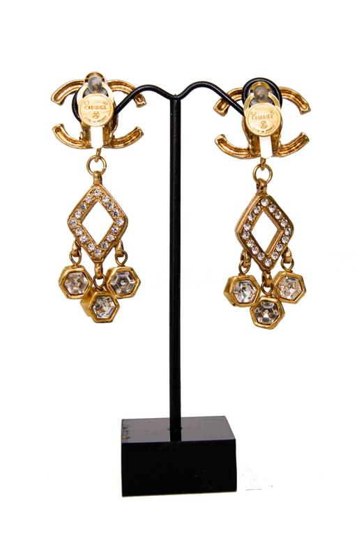 A Pair of 1980s Chanel Gold Toned Dangle Earrings W. Rhine Stone Embellishment 5