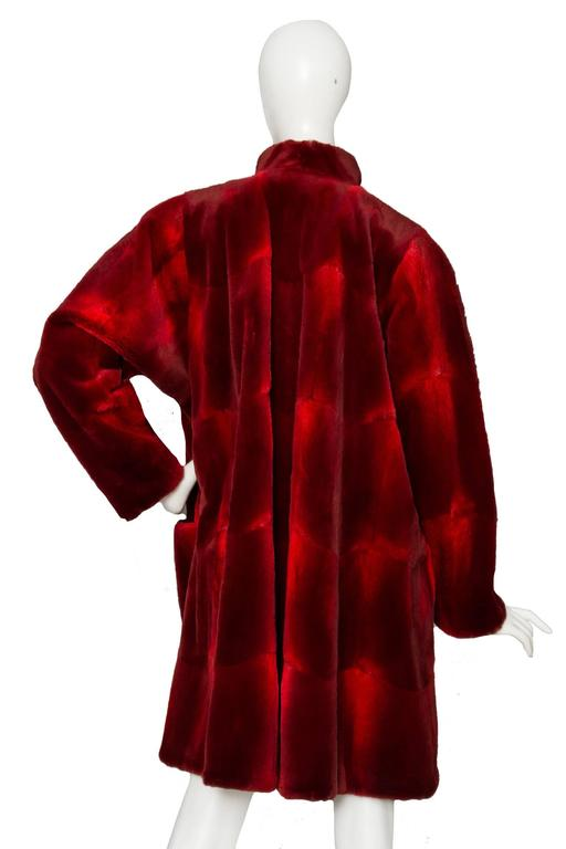 1980s Red Dyed Shaved Mink Coat at 1stdibs