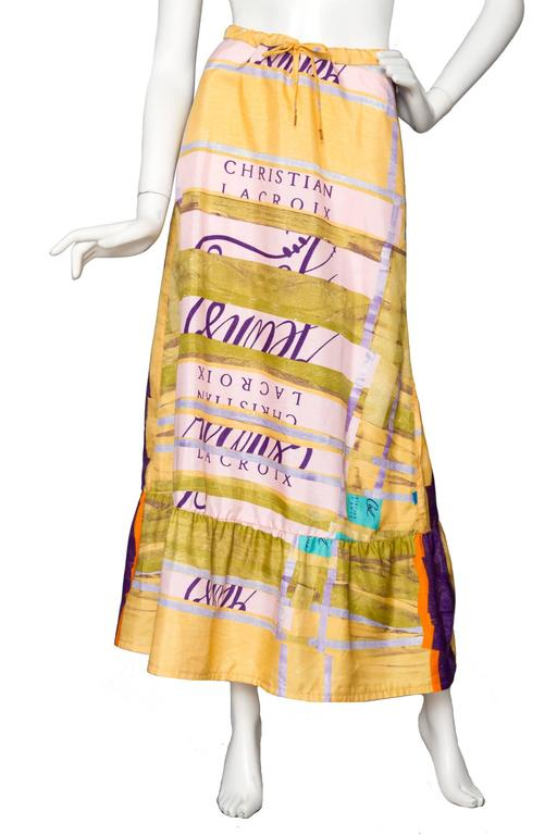 A Colorful 1990s Christian Lacroix Silk Peasent Skirt 4