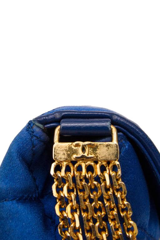An 80s Glamorous Chanel Quilted Blue Satin Evening Bag 6