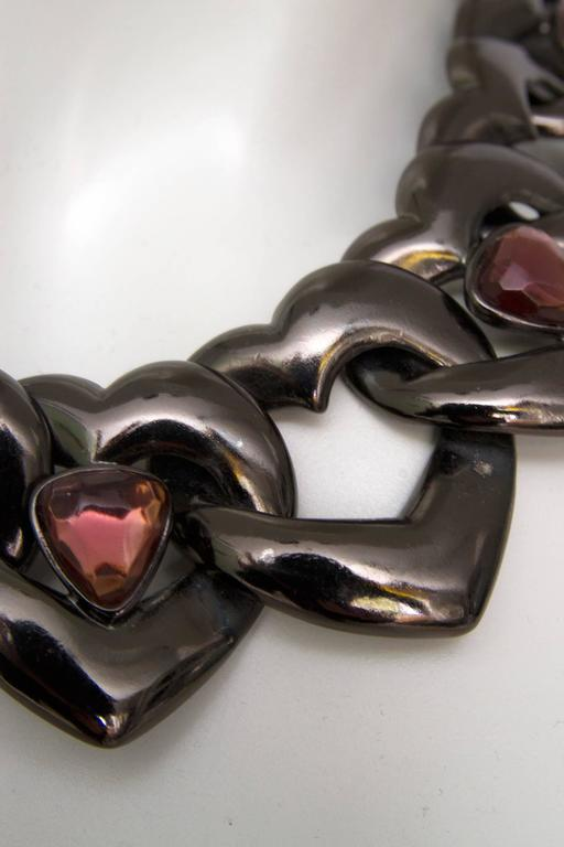 A 1990s Yves Saint Laurent Heart Chain Link Necklace  5