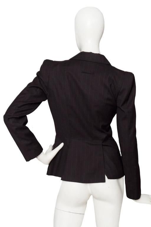 A 1990s Jean Paul Gaultier Brown Wool Pinstriped Blazer 6