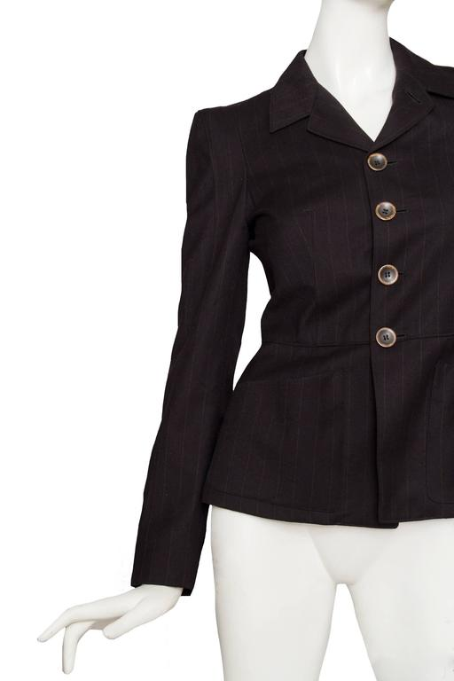 A 1990s Jean Paul Gaultier Brown Wool Pinstriped Blazer 3