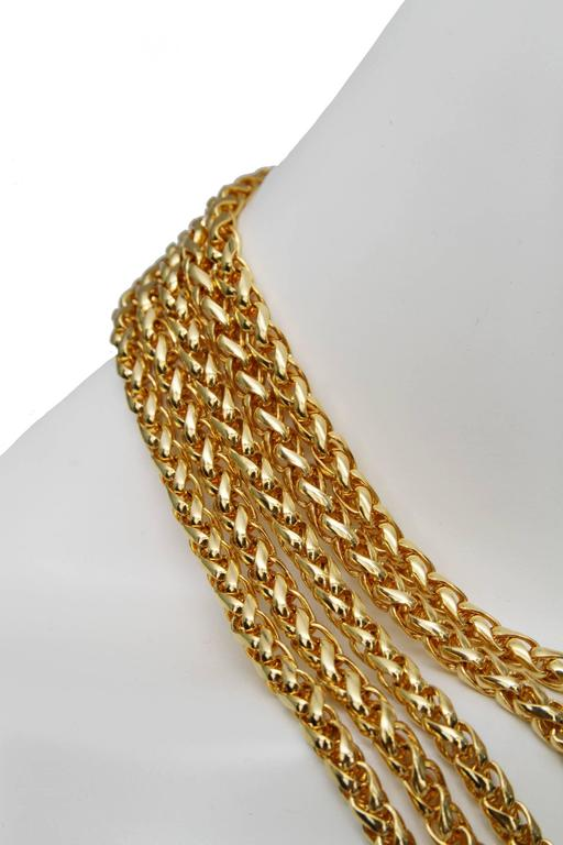 A Rare Yves Saint Laurent Crystal & Gold-toned Multi-strand Chain Necklace 7