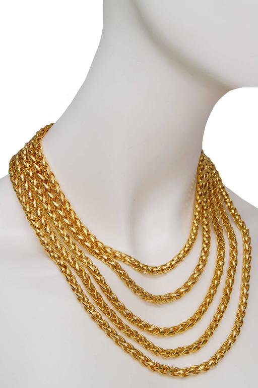 A Rare Yves Saint Laurent Crystal & Gold-toned Multi-strand Chain Necklace 5