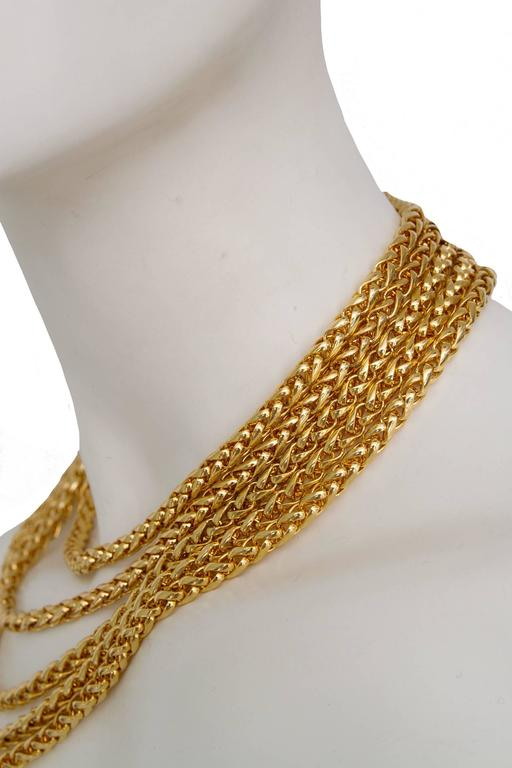A Rare Yves Saint Laurent Crystal & Gold-toned Multi-strand Chain Necklace 6