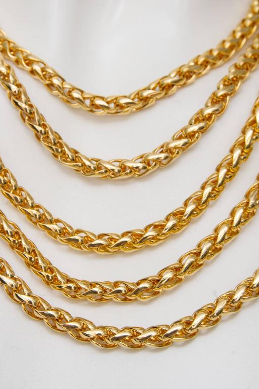 A Rare Yves Saint Laurent Crystal & Gold-toned Multi-strand Chain Necklace 8