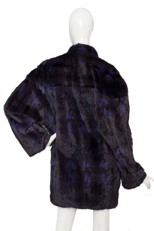 Black A 1980s Celine Dyed Mink Fur Coat For Sale