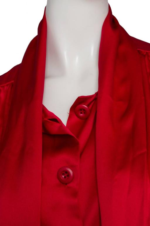 A 1980s Vintage Fire Engine Red Yves Saint Laurent Silk Blouse W Pussy Bow For Sale 2