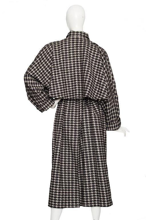 Black A 1980s Lanvin Capped Tartan Wool Coat  For Sale