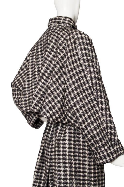 A 1980s Lanvin Capped Tartan Wool Coat  For Sale 1