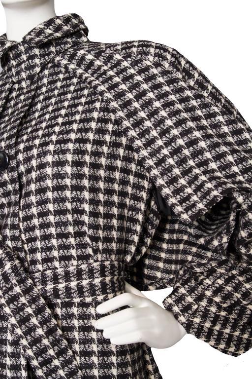 Women's A 1980s Lanvin Capped Tartan Wool Coat  For Sale