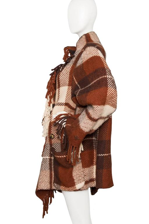 Brown A 90 Tartan Jean-Charles de Castelbajac Wool Jacket For Sale