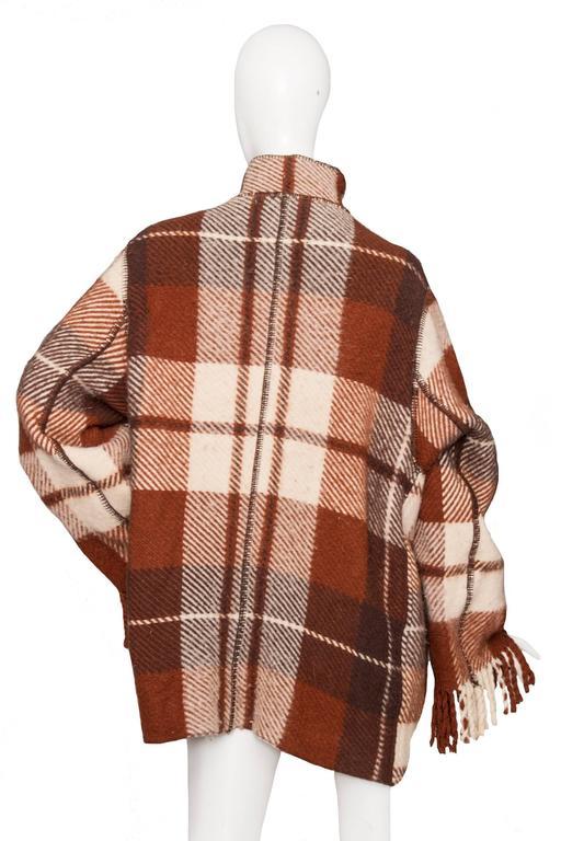 A 90 Tartan Jean-Charles de Castelbajac Wool Jacket In Good Condition For Sale In Copenhagen, DK