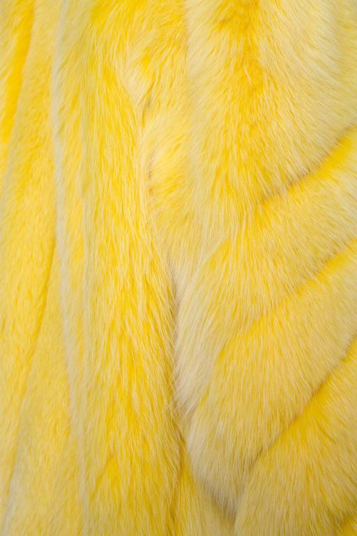 A 1980s Bright Yellow Dyed Saga Furs Fox Coat 4