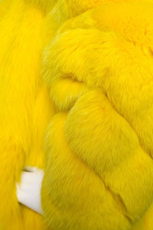 A 1980s Bright Yellow Dyed Saga Furs Fox Coat 6