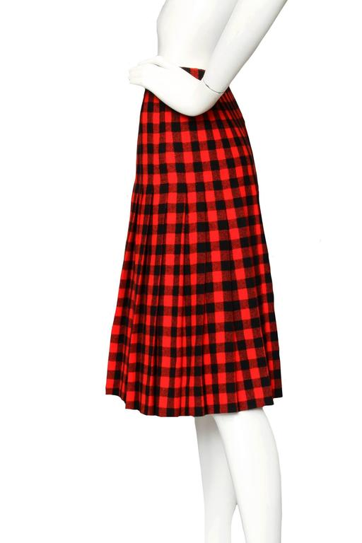 60 Givenchy Haute Couture Tartan Wool A-line Skirt 2