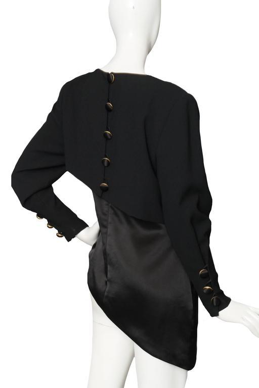 A Black Pierre Balmain Asymmetric Blouse For Sale 1