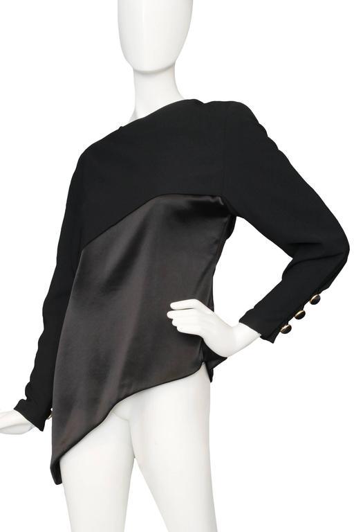 A Black Pierre Balmain Asymmetric Blouse In Good Condition For Sale In Copenhagen, DK