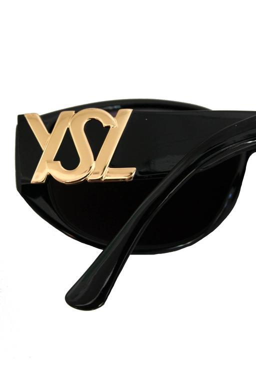 1990s Yves Saint Laurent Black Frame Sunglasses W. Gold 'YSL' Detail 5