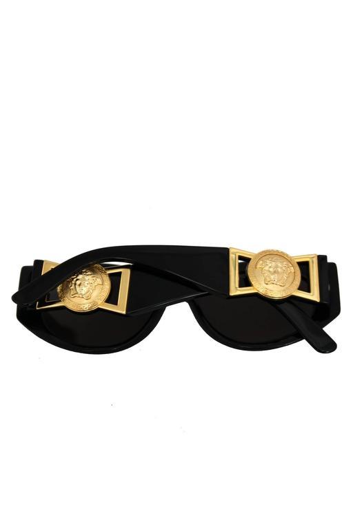 90s Gianni Versace Black Sunglasses w. Gold Medusa 5