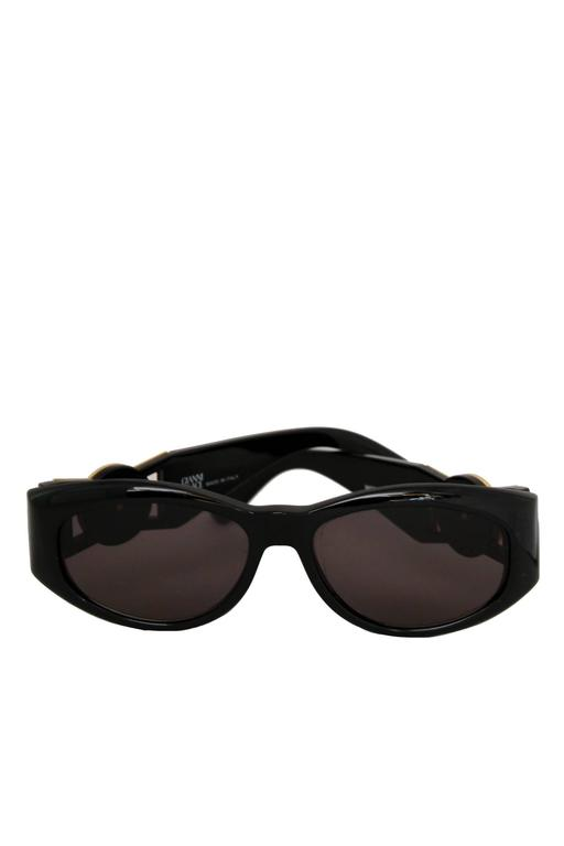 90s Gianni Versace Black Sunglasses w. Gold Medusa 4
