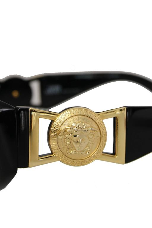90s Gianni Versace Black Sunglasses w. Gold Medusa 7