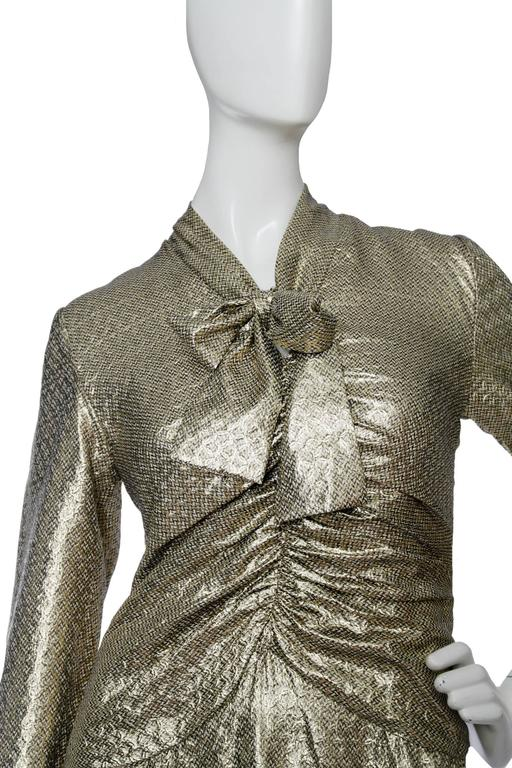 A 1970s Hanae Mori Gold Lamé Dress 5