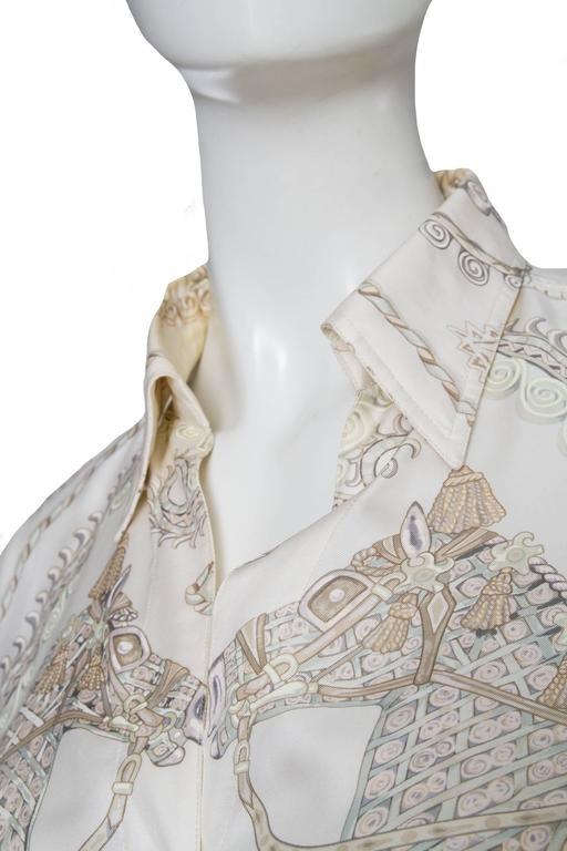 Women's A 1970s Hermès Printed Silk Shirt For Sale