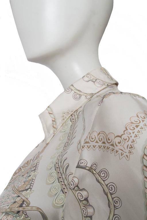 A 1970s Hermès Printed Silk Shirt For Sale 1