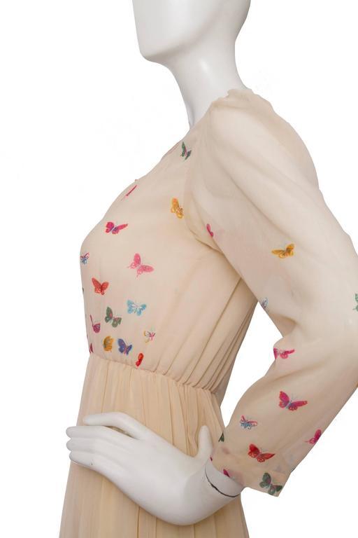 A Stunning  Hanae Mori Butterfly Silk Dress  In Good Condition For Sale In Copenhagen, DK