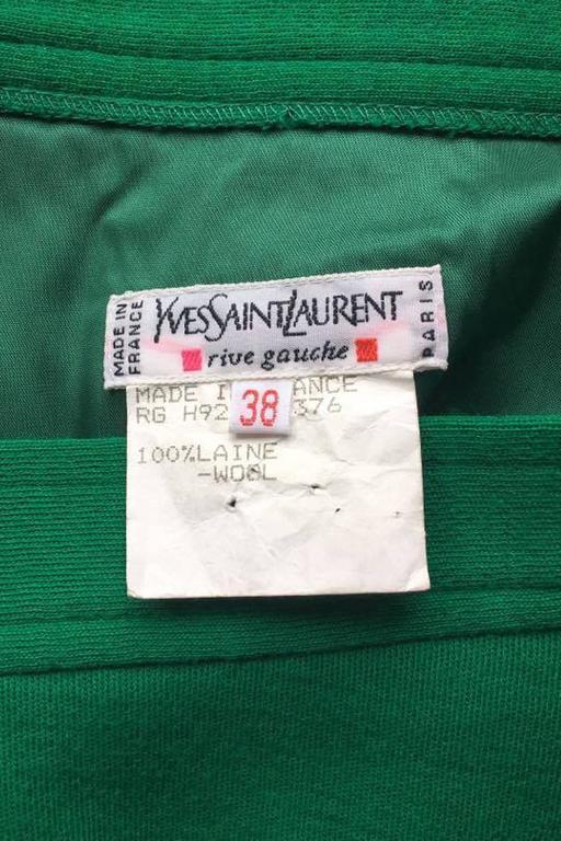 An 80s Yves Saint Laurent Bright Green Fringed Wrap Skirt 2
