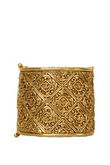 An Engraved 1980s Gold-toned Chanel Cuff Bracelet