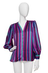1980s Yves Saint Laurent Striped SIlk Shirt
