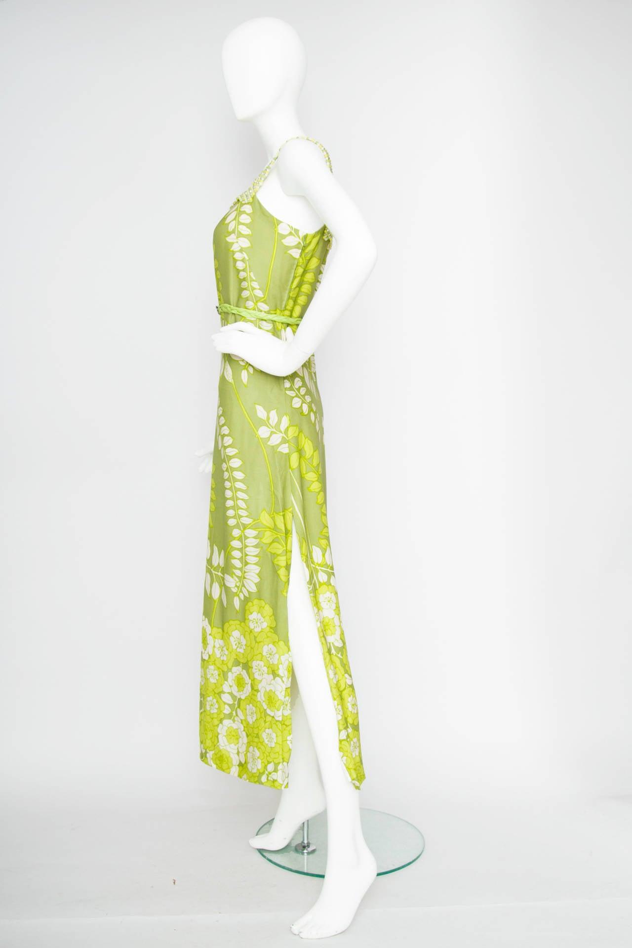 Beige 1960s Green Floral Handmade Silk Dress Size M For Sale