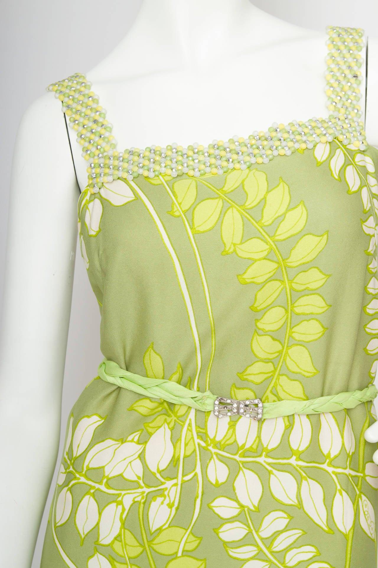 Women's 1960s Green Floral Handmade Silk Dress Size M For Sale