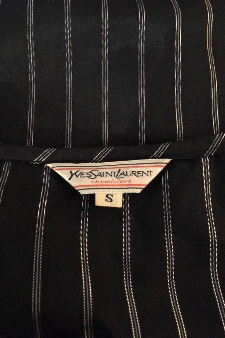 80s Yves Saint Laurent Sheer Lurex Blouse W. Ruffle Collar  2