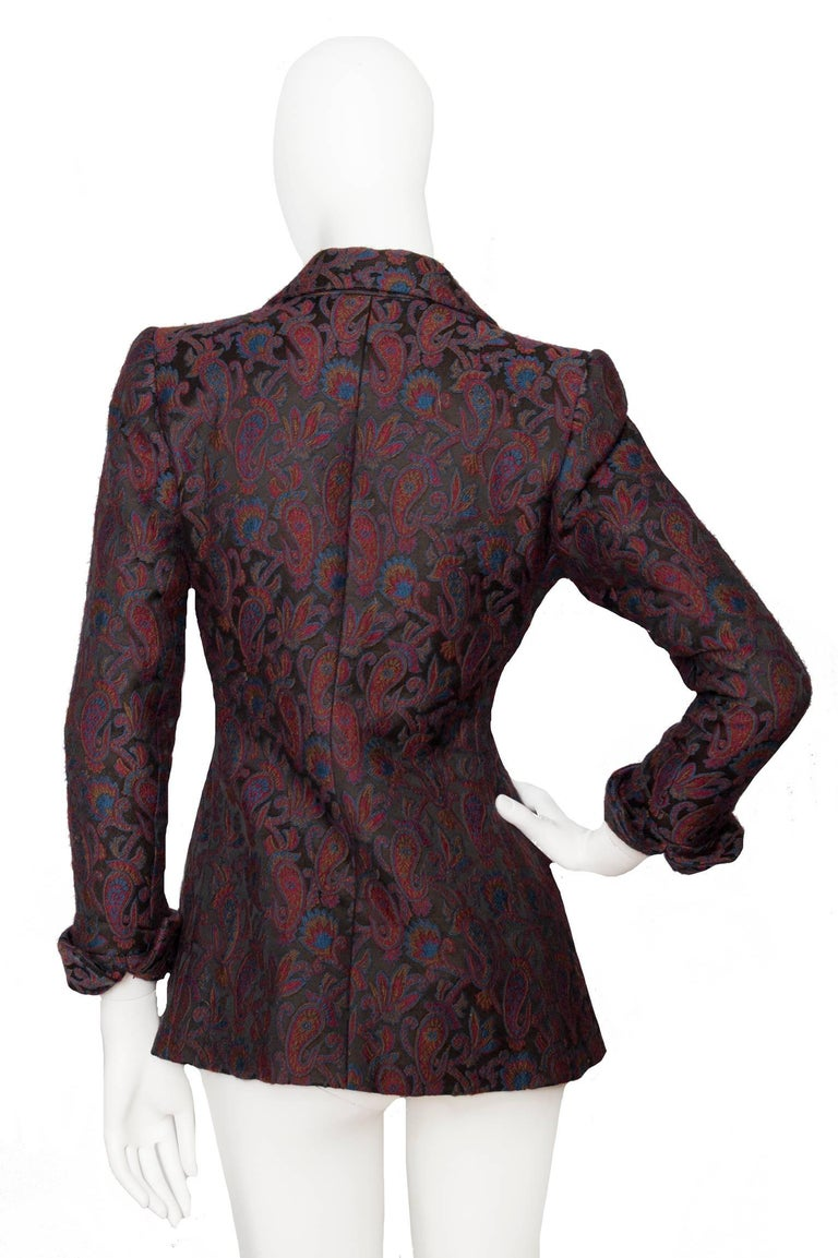Women's  Yves Saint Laurent Vintage Rive Gauche Tapestry Paisley Printed Blazer XS For Sale