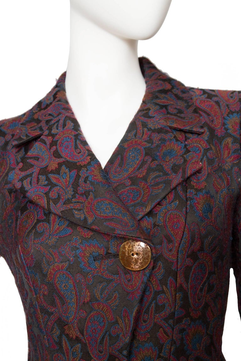 Black  Yves Saint Laurent Vintage Rive Gauche Tapestry Paisley Printed Blazer XS For Sale