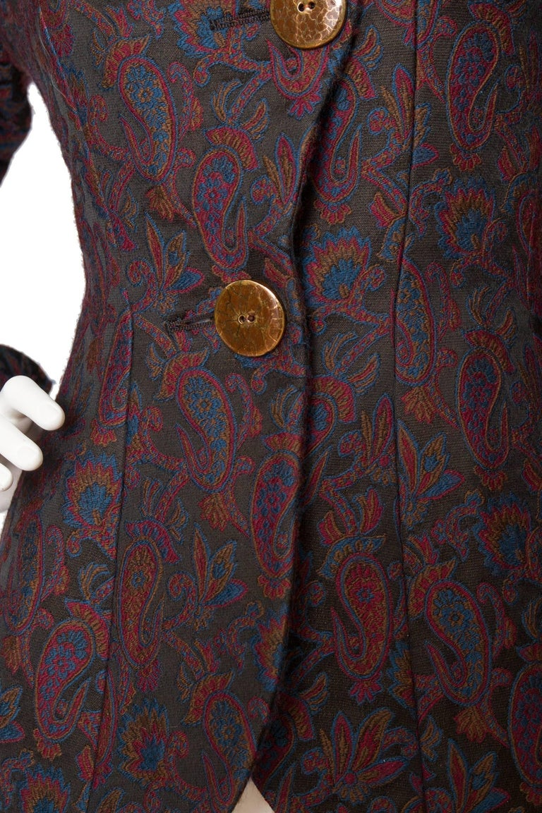 Yves Saint Laurent Vintage Rive Gauche Tapestry Paisley Printed Blazer XS In Good Condition For Sale In Copenhagen, DK