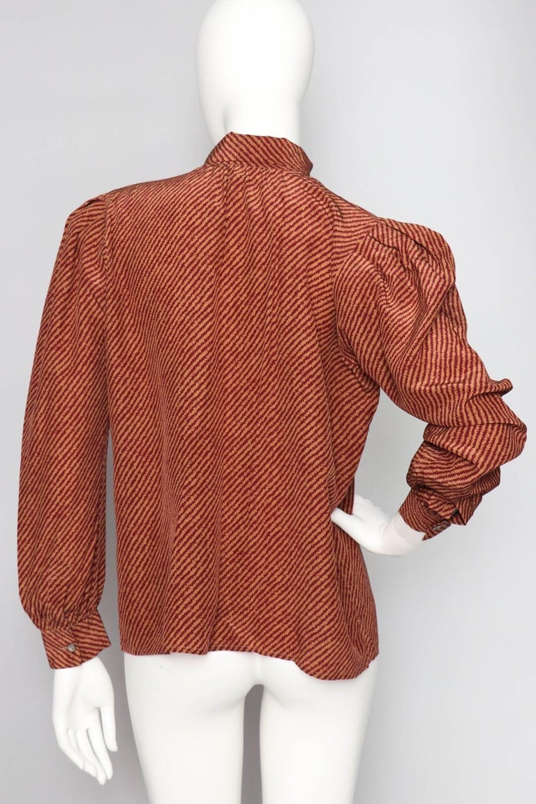 Brown An Early 1980s Vintage Red Yves Saint Laurent Rive Gauche Silk Blouse  For Sale