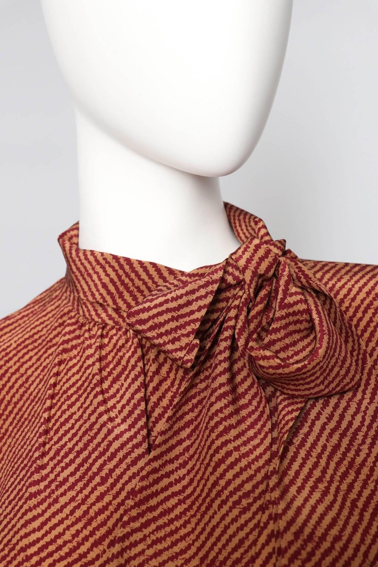 An Early 1980s Vintage Red Yves Saint Laurent Rive Gauche Silk Blouse  For Sale 1