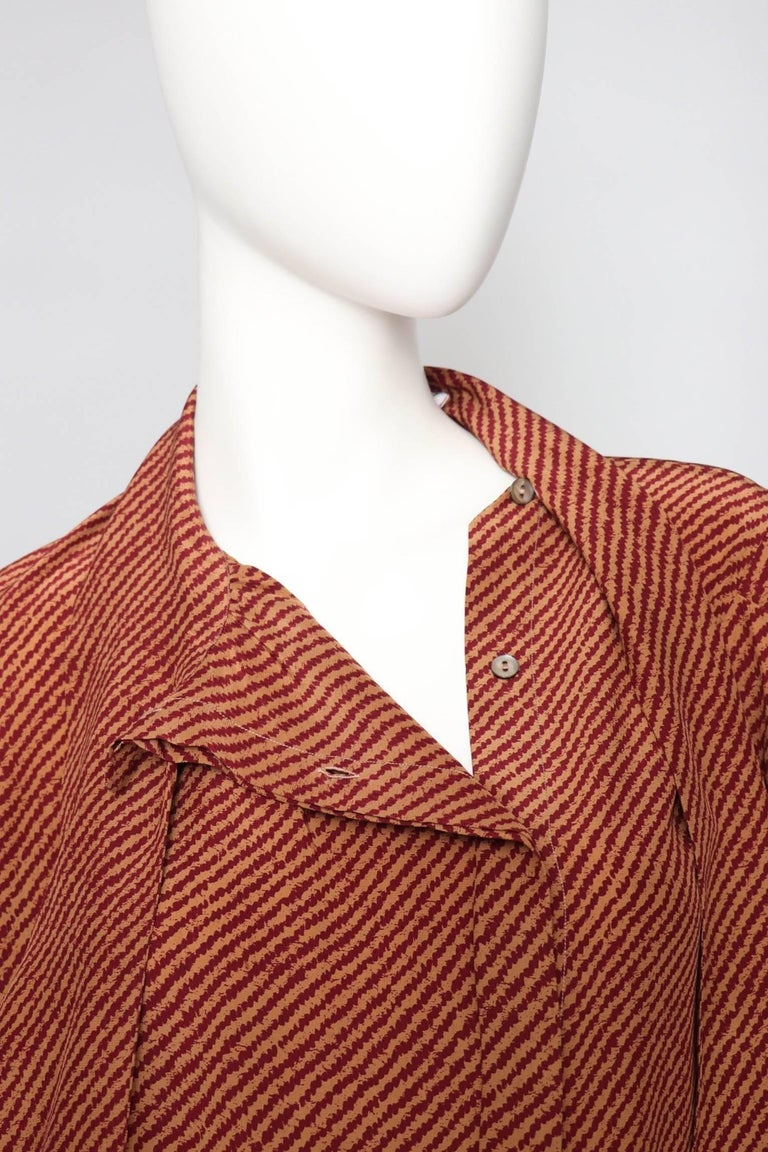 An Early 1980s Vintage Red Yves Saint Laurent Rive Gauche Silk Blouse  For Sale 2