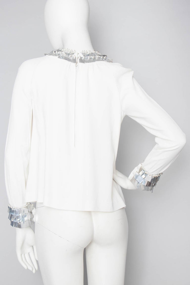 Gray Chloé by Karl Lagerfeld vintage White Silk Blouse With Metallic Trim, 1970s  For Sale