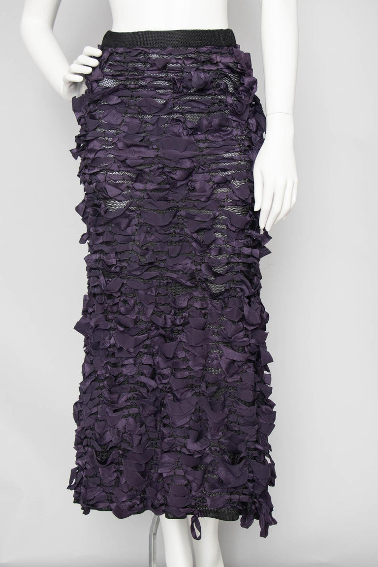Women's or Men's Yves Saint Laurent by Tom Ford Vintage Raw Ribbon Skirt, Fall 2001  For Sale
